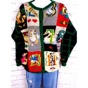 Vintage 90's Hand Knit 12 Days Christmas Sweater